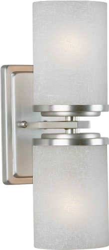 Forte Lighting 2424-02-55 Wall Sconce with White Linen Glass Shades, Brushed Nickel