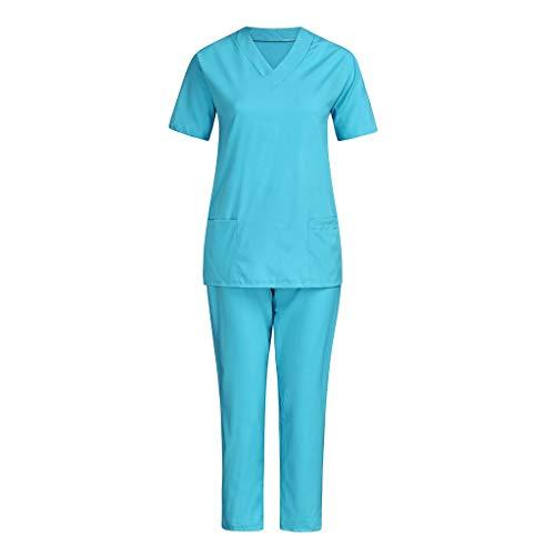 Women Men Scrubs Sets Unisex Uniform Set Nursing Working Outfit Sets Two Piece Medical Doctors Suit T Shirts+Long Pants Suit