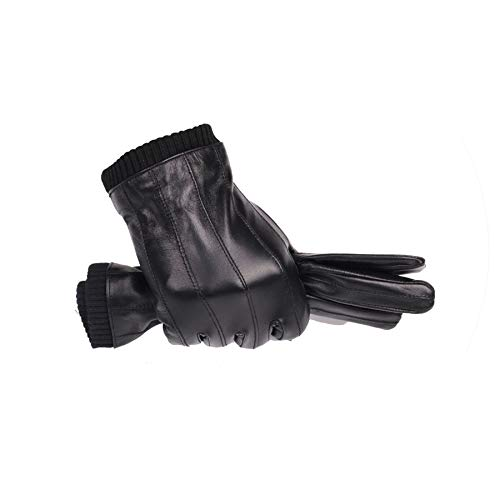 Leather Gloves for Men Winter Sheepskin can Play Touch Screen Elastic Wrist,colour1,L Suit plam22-23.cm ()