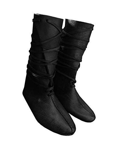 Syktkmx Mens Renaissance Lace Up Loafer Boots Medieval Cosplay Pirate Viking Tied Halloween Shoes ()