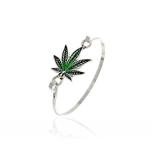 Joji Boutique Green Enameled Marijuana Leaf Bangle