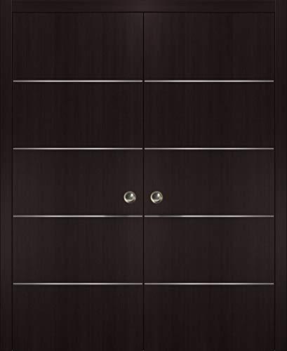 Double Pocket Sliding Brown Door with Strips | Planum 0020 Wenge | Frames Trims Pulls Hardware | Closet Solid Core Door