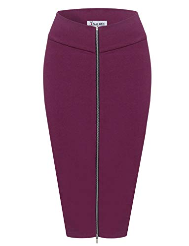 TAM WARE Womens Stylish Exposed Front Zip Stretchy Pencil Skirt TWCWD129-WINE-US M