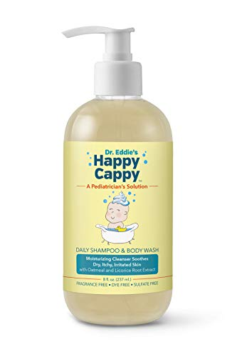 Dr. Eddie's Happy Cappy Daily Shampoo & Body Wash for Children, Soothes Dry, Itchy, Irritated, Sensitive Skin, Dermatologist Tested, Fragrance Free, Dye Free, Sulfate Free, 8 oz (Best Shampoo For Eczema Child)