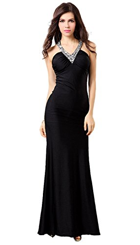 Fanhao Women's V Neck Sequins Bridal Evening Party Long Prom Dress,Black,2