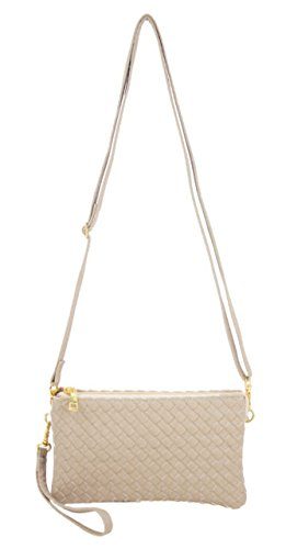 Leather Bag Woven Body Large Crossbody Gold Cross Beaute Wristlet Included Bags Vegan with Strap Women's qOxAP