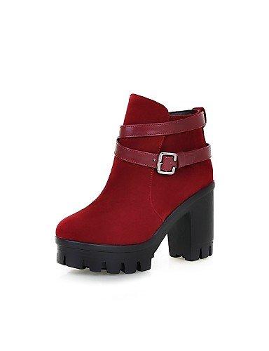 Burgundy Uk8 Zapatos Uk6 Vestido Marrón us8 Brown Vellón Cn43 Moda La 5 Eu Botas Bronceado Mujer De Robusto Redonda A Casual Tacón us10 Punta Xzz Eu39 Cn39 negro 5 Eu42 1TPqd1