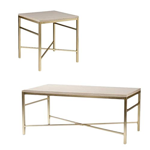 2 Piece Metal Coffee Table and End Table Set in Travertine