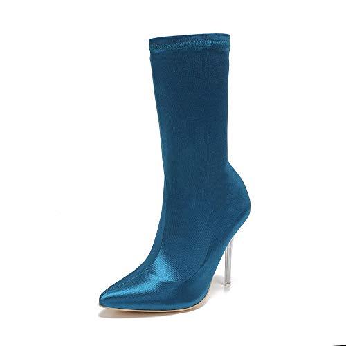 Mackin J 260-7 Women's Mid-Calf Satin High Heel Dress Bootie (7.5, Peacock Blue)
