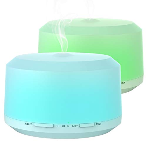 Essential Oil Diffuser 2 Pack, 450ml Aromatherapy Diffusers for Essential Oils Ultrasonic Humidifier with 4 Timer Settings Mist, 8 LED Color Night Light and Cool Mist Auto Shut-off - BAXIA TECHNOLOGY