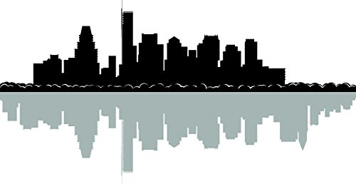 Chic Walls Removable Boston City Skyline Buildings & Shadow Wall Art Home Décor Decal Vinyl Sticker Bedroom Living Room Kitchen Office Black & Grey 70