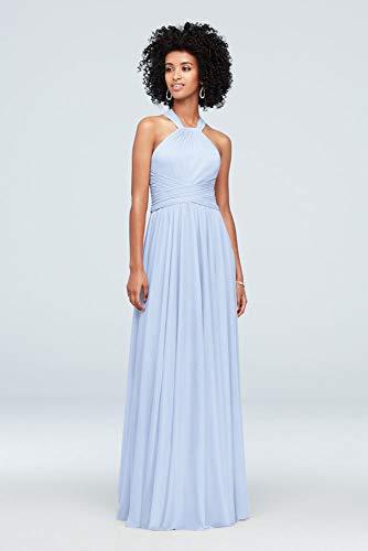 David's Bridal High-Neck Mesh Bridesmaid Dress with Full Skirt Style F19931, Ice Blue, 10 -