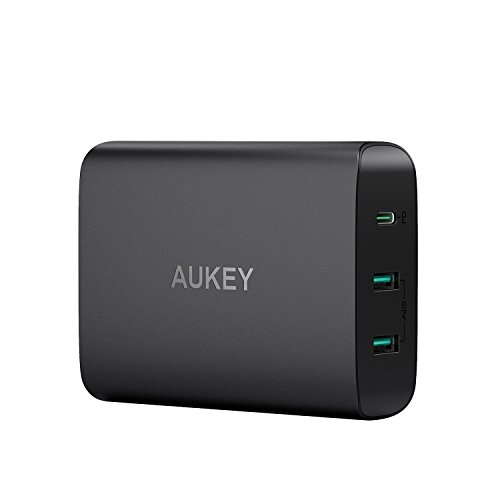 AUKEY USB C Charger with 60W Power Delivery 3.0 & Dual Port USB Charger, Compatible MacBook / Pro, Dell XPS, iPhone XS / XS Max / XR, Samsung Galaxy S8 / S8+ / Note8 and More