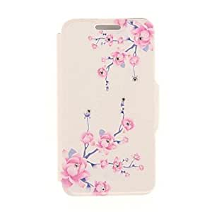 QJM Kinston Purple Branches of Flowers Diamond Paste Pattern PU Leather Cover for iPhone 6