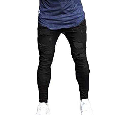 Hx Nero Con Cuciture Aderenti Leggeri Pantaloni Da Skinny Al Stretch Skinny Casual Fashion Jeans Taglie Comode Super Uomo Strappati Abiti Ginocchio 6Rp6Crn