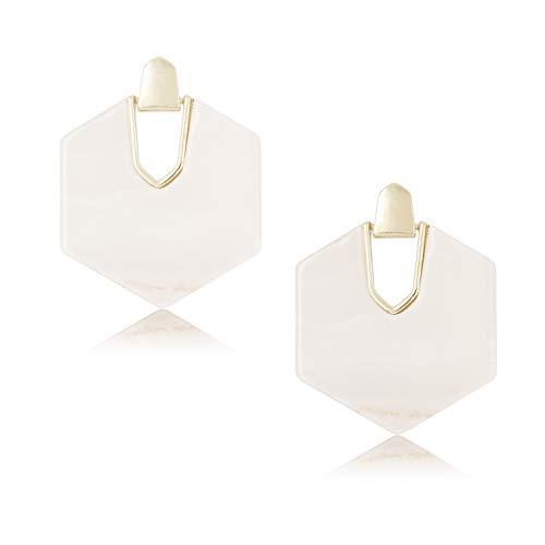 DESIMTION Acrylic Earrings Tortoise Shell Resin Earrings Statement Marble Acetate Mottled Statement Dangle Earrings for Women - White Abalone Earrings