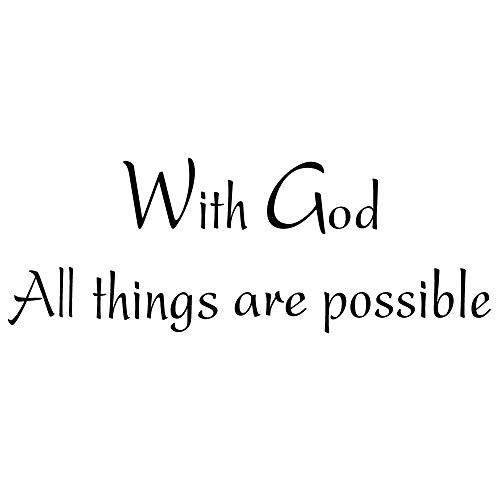 - ZSSZ with God All Things are Possible Vinyl Wall Decal Religious Home Décor Christian Quote Prayer Wall Stickers Art Letters Inspirational Bible Scripture Matthew 19:26