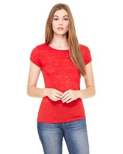 (Bella 8601 Womens Burnout Short Sleeve Tee - Red, Medium)