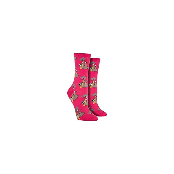 Socksmith Women'S Socks Sloth Bling Crew Raspberry 1Pair, Sock Size 9-11 -
