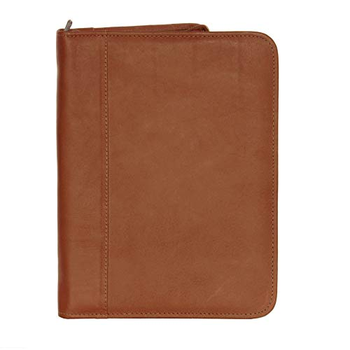 Piel Leather Zippered Padfolio, Saddle, One Size