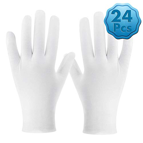 White Cotton Gloves, Cridoz 12 Pairs Cotton Gloves for Women Dry Hands Cleaning Serving Archival Gloves for Sleeping Moisture Eczema Coin Jewelry Silver Costume Inspection Handling Art, Large Size]()