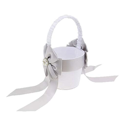 Wedding Satin Bowknot Flower Basket Ring Pillow Guest Book and Pen Set |item - flower girl -