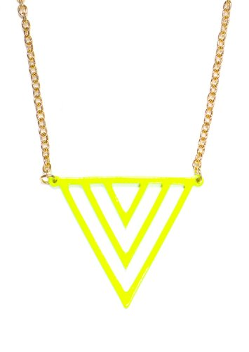 (Magic Metal Neon Triangle Pyramids Necklace Fluorescent Yellow Chevron NK29 Geometric Modern Pendant Fashion Jewelry)