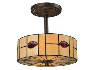 Dale Tiffany TH12448 Fantom Leaf Semi Flush Mount Light Fixture, Rustic Bronze