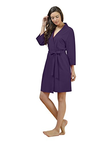 SIORO Women s Kimono Robes Cotton Lightweight Bath Robe Knit ... e9fac2e04