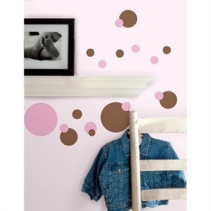 Polka DOT 31 Big Vinyl Wall Decals Pink Brown Removable Room Decor Stickers Kids (Pink Brown Wall Decor)