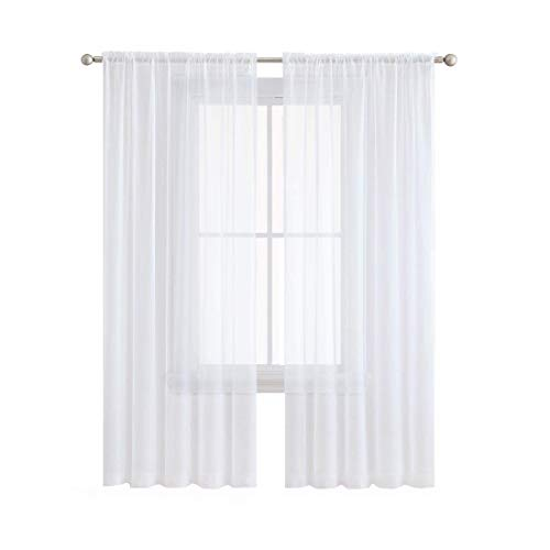 Anjee Sheer White Curtains, 96 inches Long Voile Curtain,(2 Panels ) Semi Sheer Curtain for Living Room, Dining Room, Bedroom, 54 x 96 Inches (Panel Free Bed Time)