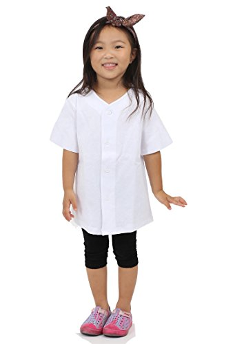 Hat and Beyond Kids Baseball Jersey Button Down T Shirts Active Uniforms XXS-XL 5KSA0002 (Medium, 5ksa02_White)