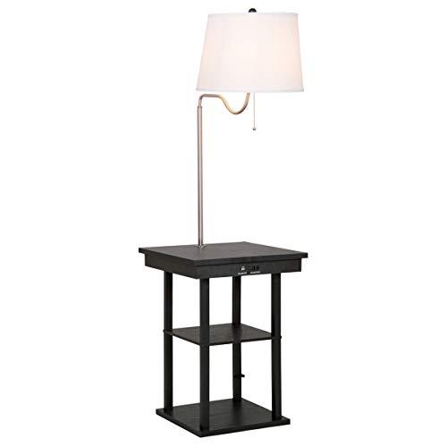 Thaisan7, Floor Lamp Swing Arm Lamp Built In End Table w/Shade 2 USB Ports Living Room,home -