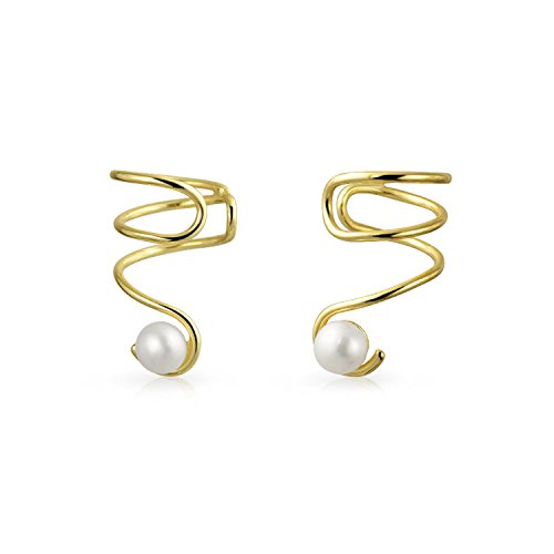 Spiral Wire White Freshwater Cultured Pearl Cartilage Ear Cuff Wrap Helix Earrings 14K Gold Plated Sterling Silver