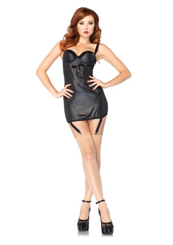 Avenue Lace Up Costume (Leg Avenue Costumes Wet Look Underwire Garter Dress with Lace Up Detail, Black, Large)