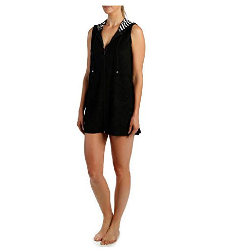 Catalina Women's Hooded Zip-Front Terry Swim Cover-Up (Regular & Plus) (X-Large, Black)