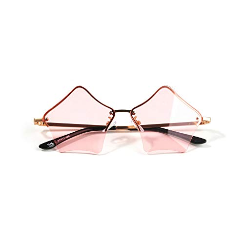 MINCL/Super Cute Star Shape Rimless Sunglasses Metal Frame Transparent Candy Color Eyewear (Oval Shape Glass)