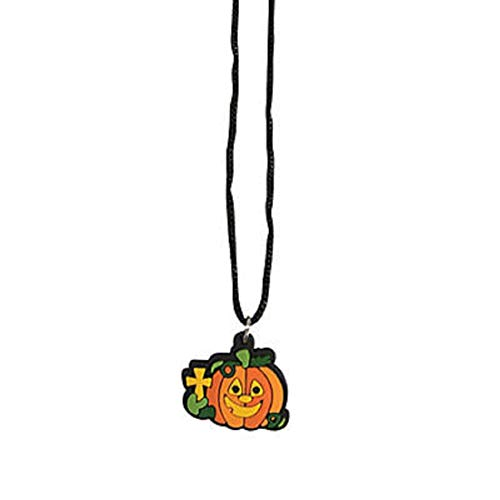 Christian Pumpkin Charm Necklaces Halloween Thanksgiving Party Favors 12 Pack ()