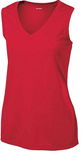 Joe's USA Ladies Moisture Wicking Muscle Tank Athletic T-Shirt-True Red-XL