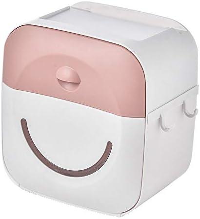 防水ティッシュボックストイレットペーパーホルダー 携帯電話のラック貼り付けネイルフリーバスルーム紙タオル ピンク
