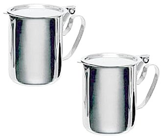 TWO COMMERCIAL STAINLESS STEEL CREAMERS - FLAT STACKABLE - Pitcher Cream