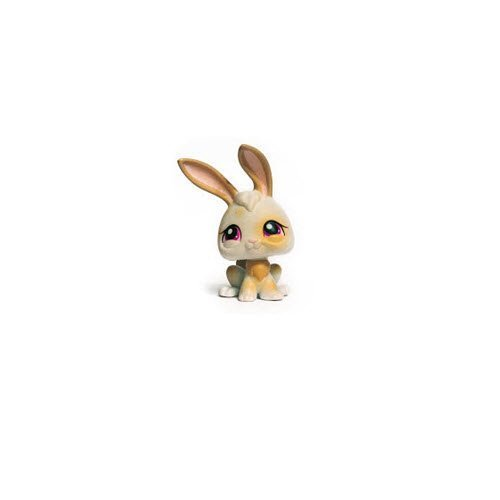 Littlest Pet Shop Easter Bunny Rabbit # 265 (White with Tan Spots and Lavender Purple Eyes) - LPS Loose Figures - Replacement Pets - LPS Collector Toy (Out of Package/OOP) ()