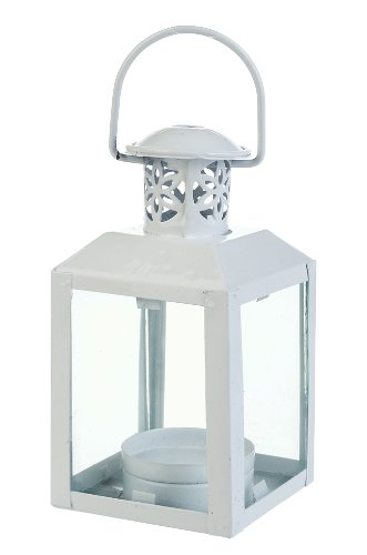 White Mini Clear Pane Hurricane Lantern Candle Holder | ChristmasTablescapeDecor.com
