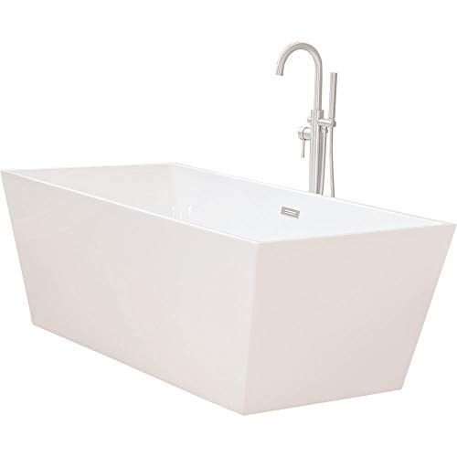 WoodBridge 67'' Modern Freestanding Bathtub with Brushed Nickel Overflow & Drain, B-0003
