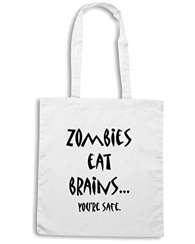Speed Shirt Borsa Shopper Bianca TZOM0021 ZOMBIES EAT BRAINS