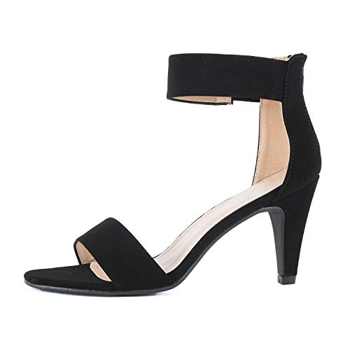 Guilty Shoes Women's Ankle Strap Open Toe Comfortable High Heels Dress Wedding Party Heeled Sandals (6 M US, Black Nubuck)