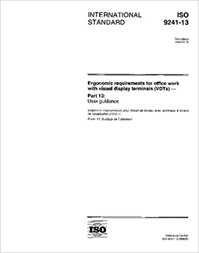 ISO 9241-13:1998, Ergonomic requirements for office work with visual display terminals (VDTs) - Part 13: User guidance