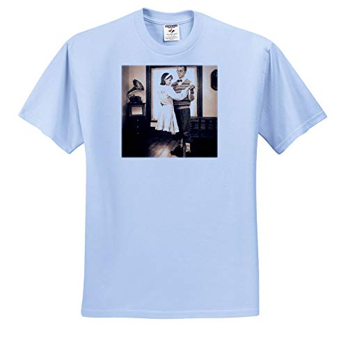 Scenes from The Past - Stereoview - Levitating Girl Dancing Creepy Halloween Stereoview Card Image Vintage - T-Shirts - Youth Light-Blue-T-Shirt Large(14-16) -