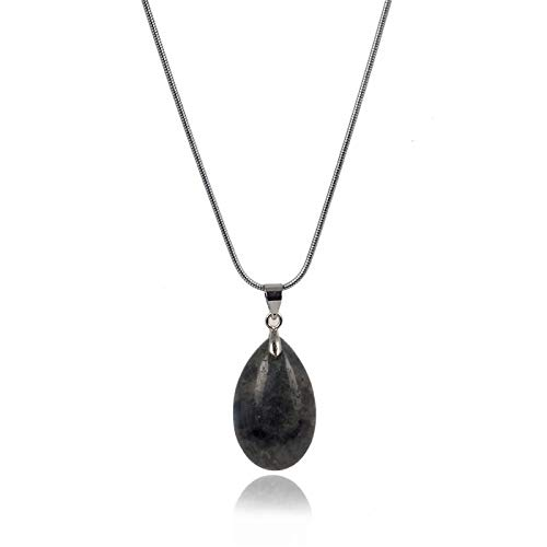 Natural Obsidian Stone/Water Drop Pendant | Sliver Chain | Necklace | Healing/Chakra | Women Fashion Jewelry