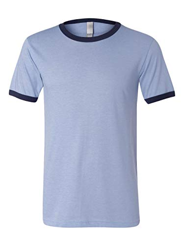 Bella+Canvas Mens Jersey Ringer Tee - Heather Blue/ Navy - L